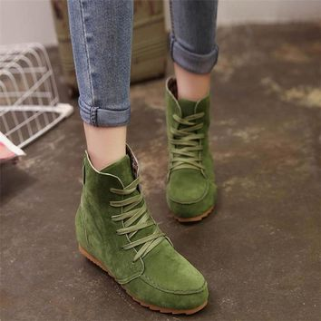 Shoes Woman Flat Ankle Snow Motorcycle Boots Female Suede Leather Lace-Up Rubber Winter Boots Women botas ug australia mujer769