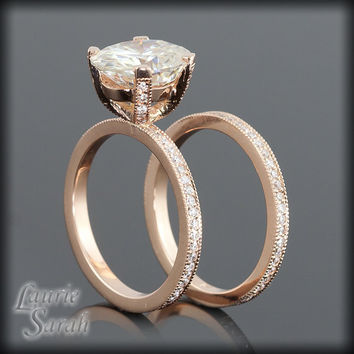 Moissanite and Diamond Engagement Ring in 14kt Rose Gold with Matching Diamond Wedding Band - LS1899