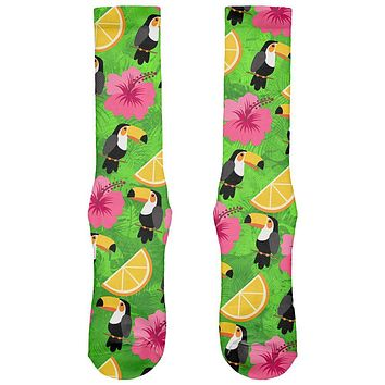 Tropical Vacation Tucan Pattern All Over Soft Socks