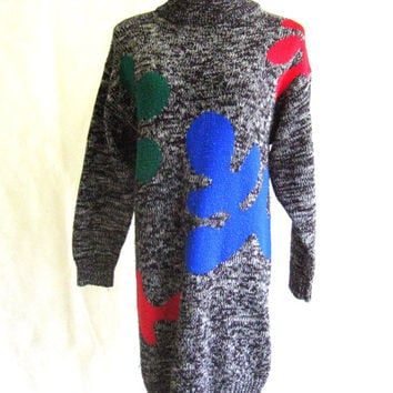 90s Sweater Dress, Vintage Ariana Black & White Marled Heather With Bright Color Splotches Mock Turtleneck Size M Medium