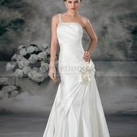 One Shoulder Strap Satin Mermaid Bridal Gown with Sequins and Tulle Flower