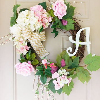 White Hydrangeas & Rose Grapevine Wreath with Burlap. Year Round Wreath. Spring Wreath. Summer Wreath. Monogram Wreath. Door Wreath.