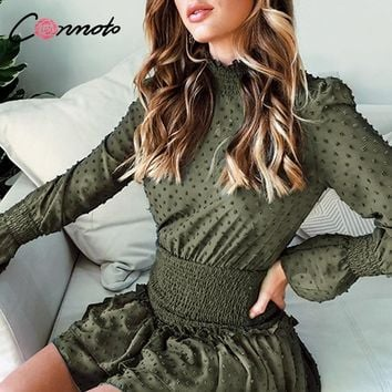 Conmoto Turtleneck Polka Dot Flounce Dress Women Long Sleeve Polka Dot Retro Dress Red Party Casual Ruched Dresses Vestidos