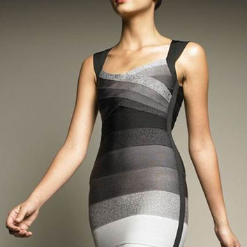 Ombre Wide Strap Bandage Dress