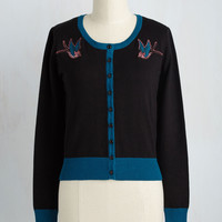 Can You Sparrow a Moment? Cardigan in Black | Mod Retro Vintage Sweaters | ModCloth.com