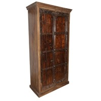 Antique Indian Furniture Spanish Colonial Dark Teak Wood Storage Wardrobe