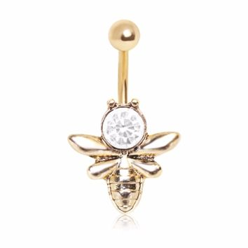 Gold Plated Crystal Bumble Bee Navel Ring