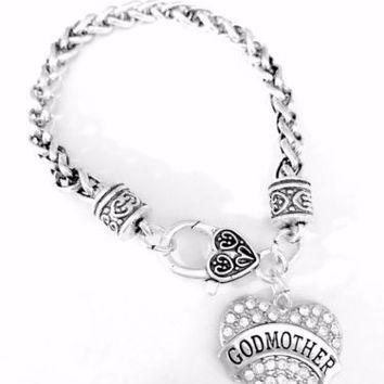 Godmother Crystal Heart Mother's Day Gift Charm Bracelet