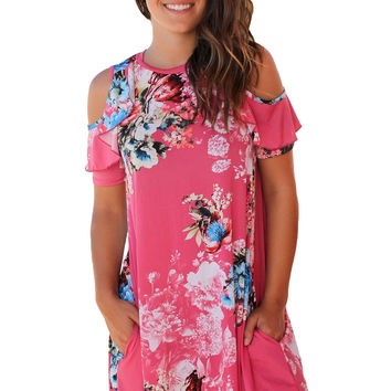 Ruffled Cold Shoulder Rosy Floral Dress LAVELIQ