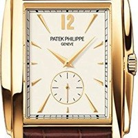 Patek Philippe Gondolo Silver Dial Yellow Gold Leather Mens Watch 5124J-001