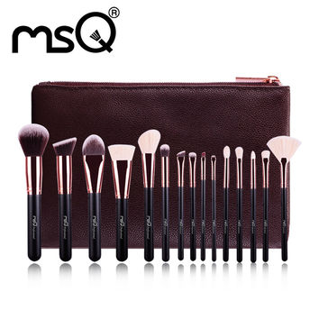 MSQ Professional 15pcs Makeup Brushes Set Rose Gold Make Up Brush Animal&Synthetic Hair With PU Leather Case