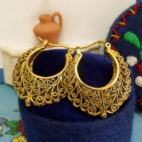Portuguese folk filigree Hoops earrings Gold tone lacy half moon hoops vintage style