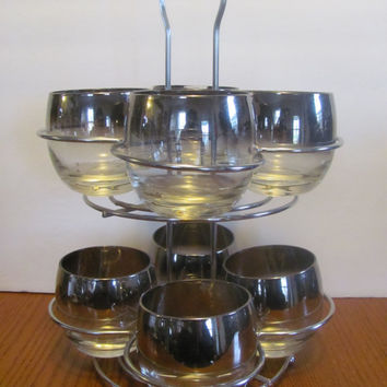 Set of 8 Silver Ombre Roly Poly Glasses Tiered Carrier