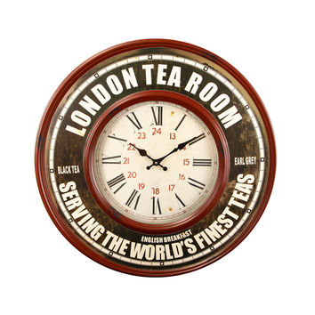 "Red and Brown Retro Iron Wall Clock ""London Tea Room"""
