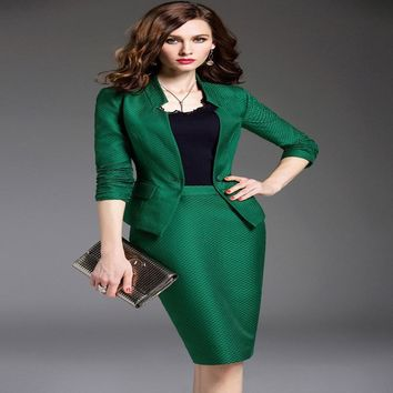 Women's Business Suits 2017 Black/Green