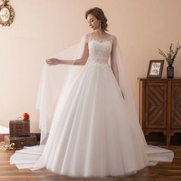 Luxury Tulle Scoop Neck With Long Veil Floor Length Ball Gown Wedding Dress