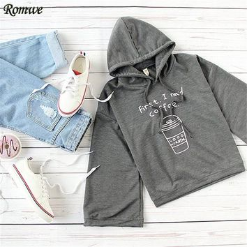 ROMWE Women Hoodies Sweatshirts Dark Grey Letters and Coffee Cup Print Three Quarter Length Sleeve Hooded Sweatshirt