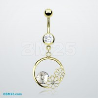 Golden Flower Crystalline Charm Belly Ring