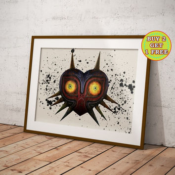 Majora's Mask, Legend of Zelda, Zelda Print, Link, Tri Force, Hylian Shield, Hyrule Sword, Zelda Canvas, Dark Link, Zelda Gifts, OC-206
