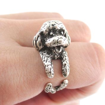 3D Realistic Toy Poodle Puppy Dog Shaped Animal Wrap Ring in Silver | US Sizes 5 to 8