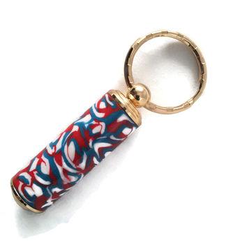 Red, White and Blue Polymer Clay 24kt Gold Plated Secret Compartment Key Chain Pill Box SJS042A