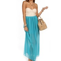 CreamSeagreen Strapless Lace Maxi Dress