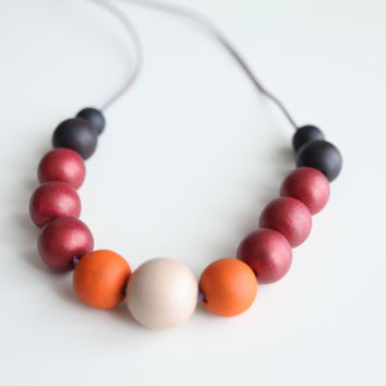 Sunset colors wood necklace, marsala necklace, dark purple, marsala beads, orange, color block, large beads necklace fashion
