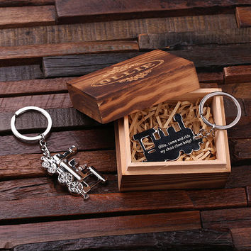 Personalized Polished Stainless Steel Key Chain – Train Conductor with Box