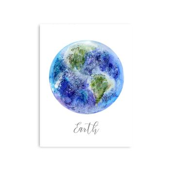 Planet Earth Watercolor