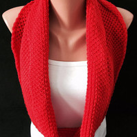 Knitted redscarf circle scarf red circle scarf infinity shawl chunky scarf knitted shawl elegant scarf woman accesories  scarf soft yarn gif