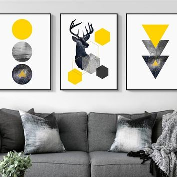 Nordic Style Geometric Starry Abstract Deer 3 Pieces Wall Art Print Picture Canvas Painting Poster for Living Room No Framed