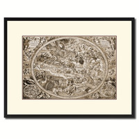 Christian Celestial Hemisphere Vintage Sepia Map Canvas Print, Picture Frame Gifts Home Decor Wall Art Decoration