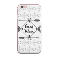 "Famenxt ""Boho Good Vibes"" Black Gray iPhone Case"