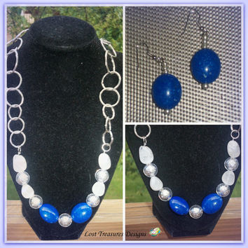 Blue Silver-Handmade Jewelry Set-2 Piece Ladies Necklace & Earrings-Beadwork-Jewellry-Ladies Jewelry-Fashion-Trending-Unique-Gift Ideas