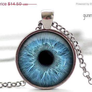 CIJ SALE Aqua Blue Eye Necklace, Third Eye Jewelry, Evil Eye Charm, Eyeball Pendant (931)