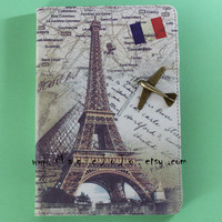 Eiffel Tower iPad 2 3 4 Case, Leather ipad case with bronze airplane,iPad 2 3 4 Cover, Flying to Paris