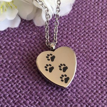 Pet cremation Jewelry - Pet memorial Urn - Personaljzed pawprints heart Irn - Cremation Jewelry - Pet Remembrance - Sympathy gift