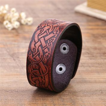 Celtic Dragon Knot Mens Leather Cuff  Wristband Charm Women Bracelets Hidden Clasp Viking Jewelry for Gift