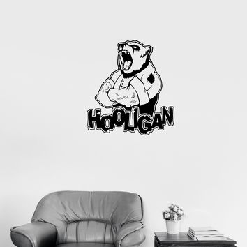 Wall Decal Ferocious Bear Head Animal Hooligan Man Vinyl Sticker (ed1020)