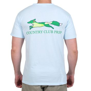 19th Hole Longshanks Logo Tee Shirt in Chambray Blue by Country Club Prep