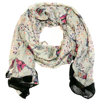 Sweet Love Birds Scarf in Grey and Black