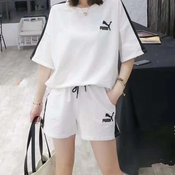 """""""PUMA""""Woman's Leisure  Fashion Letter Ebroidery Printing Short Sleeve Shorts Two-Piece Set Casual Wear"""