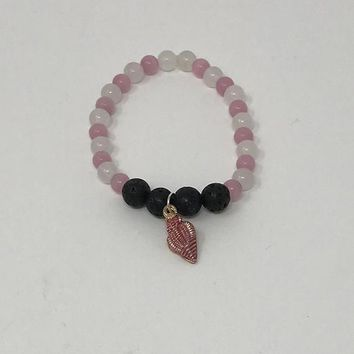 Pink & White Essential Oil Lava Bead Bracelet with Sea Shell Charm,  Can Purchase a Sample of doTerra for 1.00
