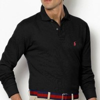 Polo Ralph Lauren Men's Long Sleeve Mesh Shirt Black