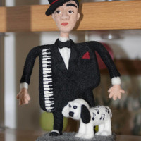 "Soft sculpture ""The Piano Man"". Interior decor. Pianist art doll. Heartwarming gift for a musician. Home Decor. Cafe decor."