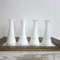 Set of 4 Vintage short white Glass Bud Vases - Instant Collection