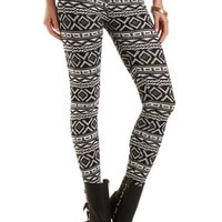 Cotton Aztec Print Leggings by Charlotte Russe - Black/White