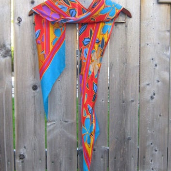 Kasper Scarf, Long Scarf, Teal, Red, Multi Color Floral Scarf, Accessories, Women