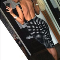 Sexy backless dot print dress party dress YPE74T
