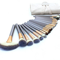 24 Piece Brush Set | Horse Hair Professional Kabuki Makeup Brush Set Cosmetics Foundation Makeup Brushes Set Kits with White Cream-colored Case Bag